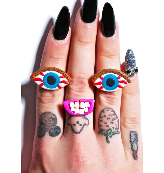 Wicked Hippie Making Faces Ring Set