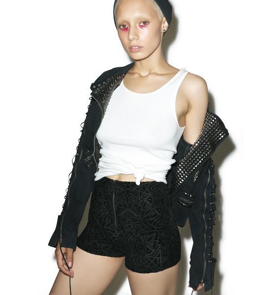 Killstar Burn Baby Zip-Front Shorts