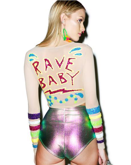 X Dolls Kill Rave Baby Crop Top