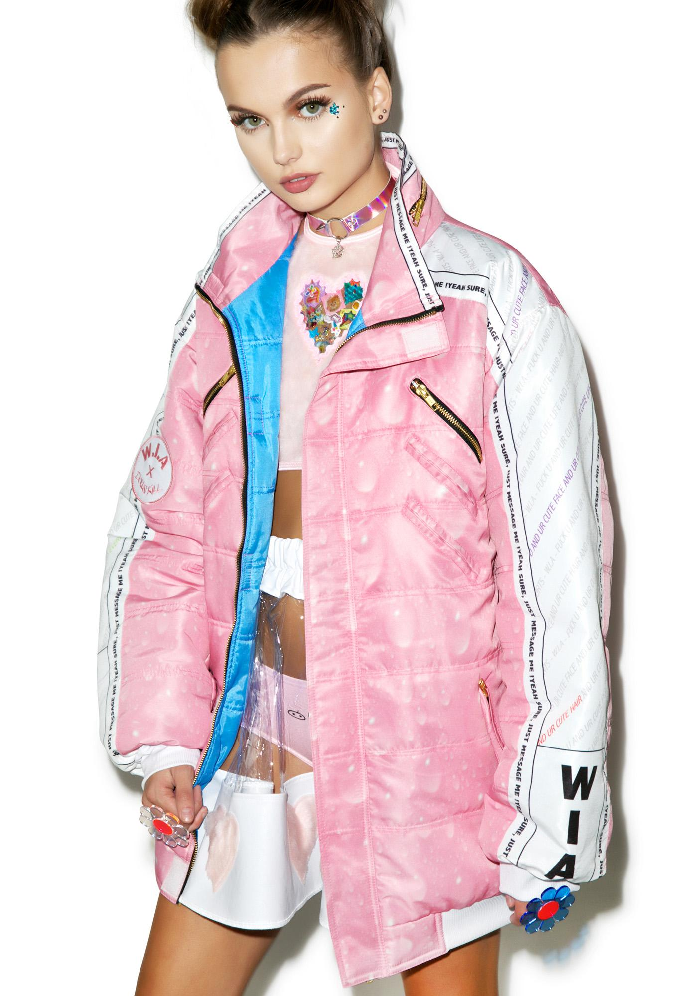 W.I.A X Dolls Kill USB Padding Bomber Jacket