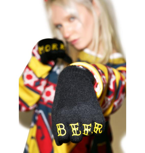 Sourpuss Clothing More Beer Knit Gloves