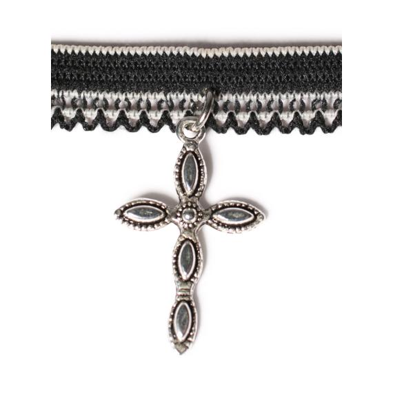 Vanessa Mooney Black & White Cross Charm Lace Choker