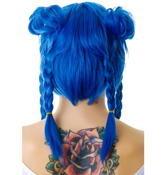 Lip Service Devil in a Blue Cosplay Wig