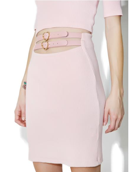 Candy Heart Belt Mini Skirt