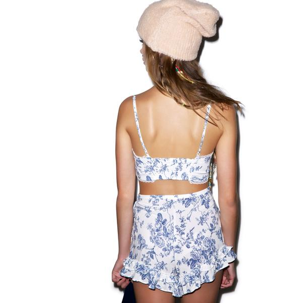 Wildfox Couture English Toile Bustier & Short Set