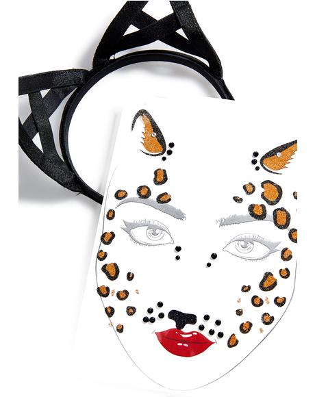 Cheetah Power Jeweled Face Mask