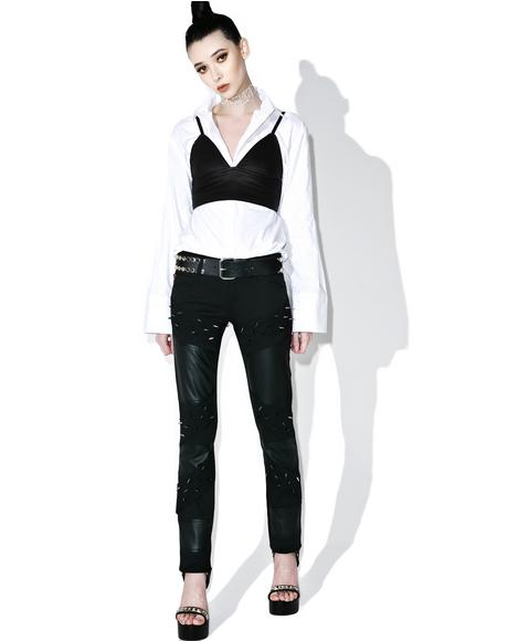 Faux Leather Spiked Jeans