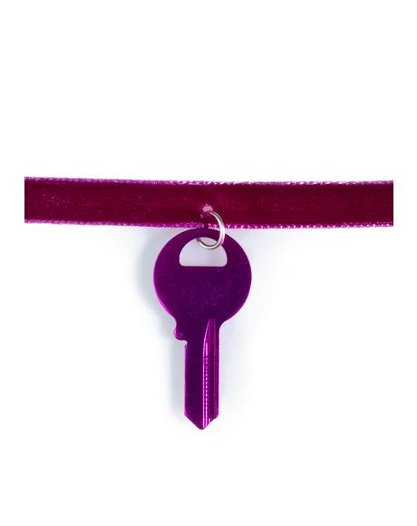 Velvet Key Choker