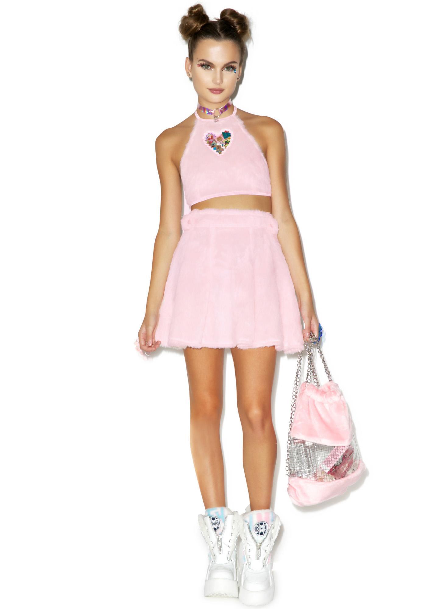Indyanna Baby Britney Faux Fur Crop Halter Top Dolls Kill