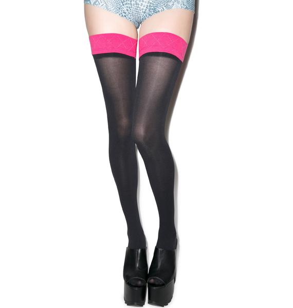 Pretty Polly Opaque Coloured Top Hold Ups