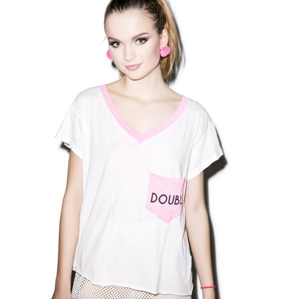 Wildfox Couture Double Romeo Pocket V-Neck Tee