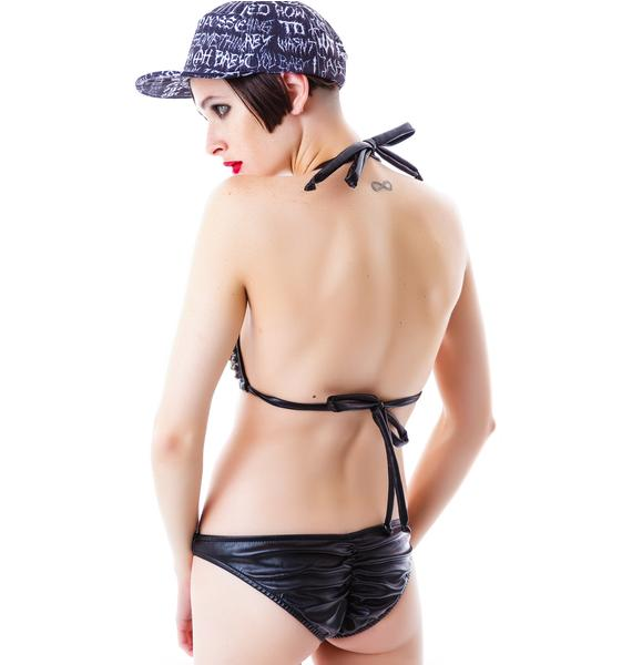 J Valentine Calling Danger Studded Faux Leather Bikini
