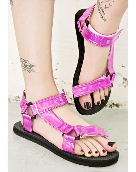 Pynk Hologram Velcro Sandals