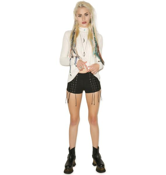 Tiger Mist We Are Young Tie Front Shorts