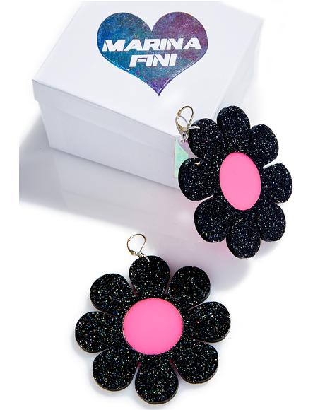 Glitter Flower Power Earrings