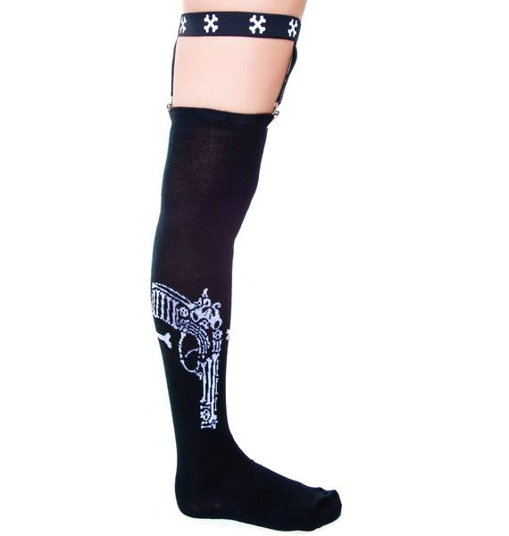 Too Fast Bone Gun Garter Socks
