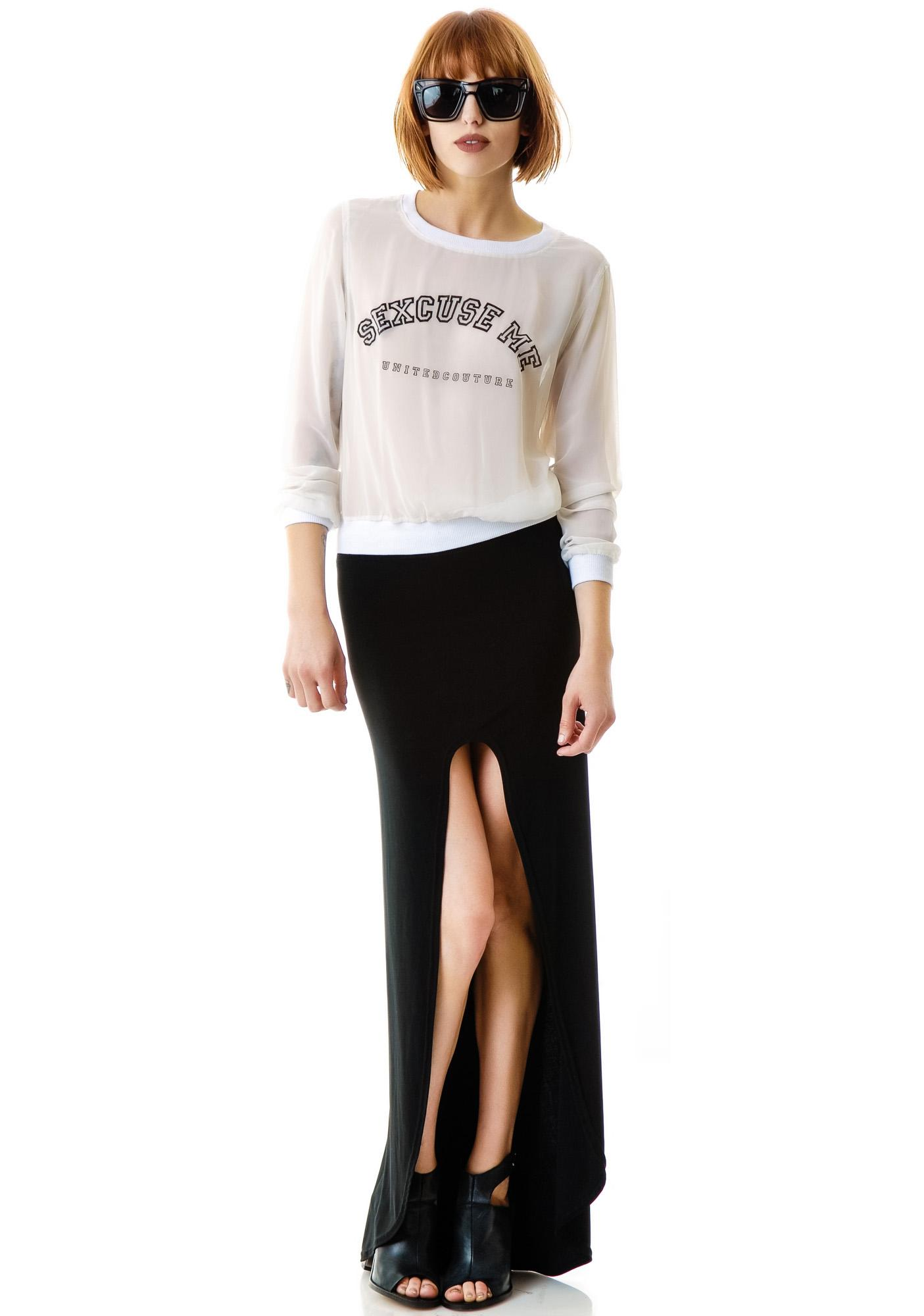 United Couture Sexcuse Me Chiffon Top