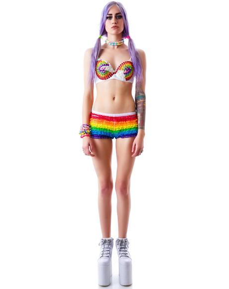 On A Rainbow Ruffle Lace Shorts