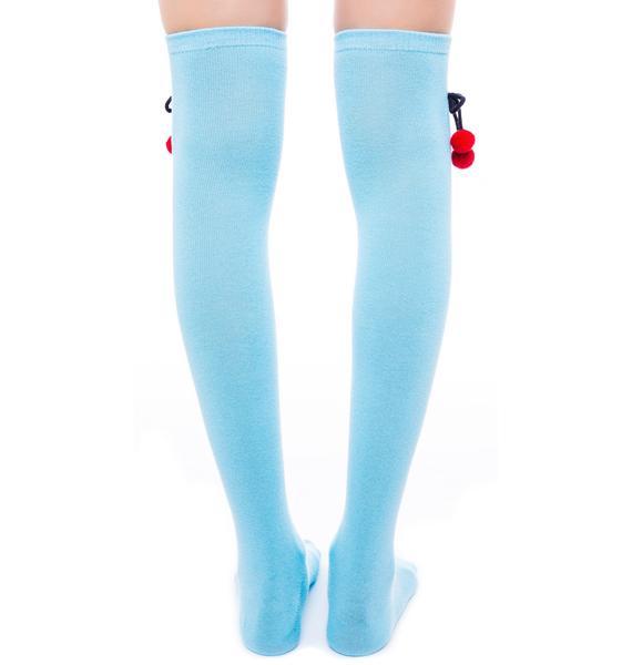 Sourpuss Clothing Cherry Pom Pom Socks