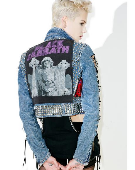 Vintage Deadstock Black Sabbath Studded Denim Jacket