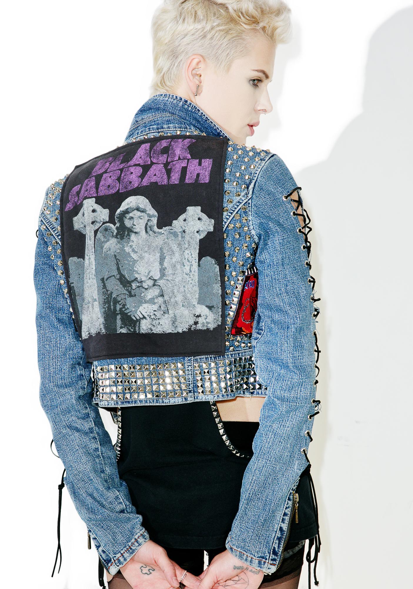 Hazmat Design Vintage Deadstock Black Sabbath Studded Denim Jacket