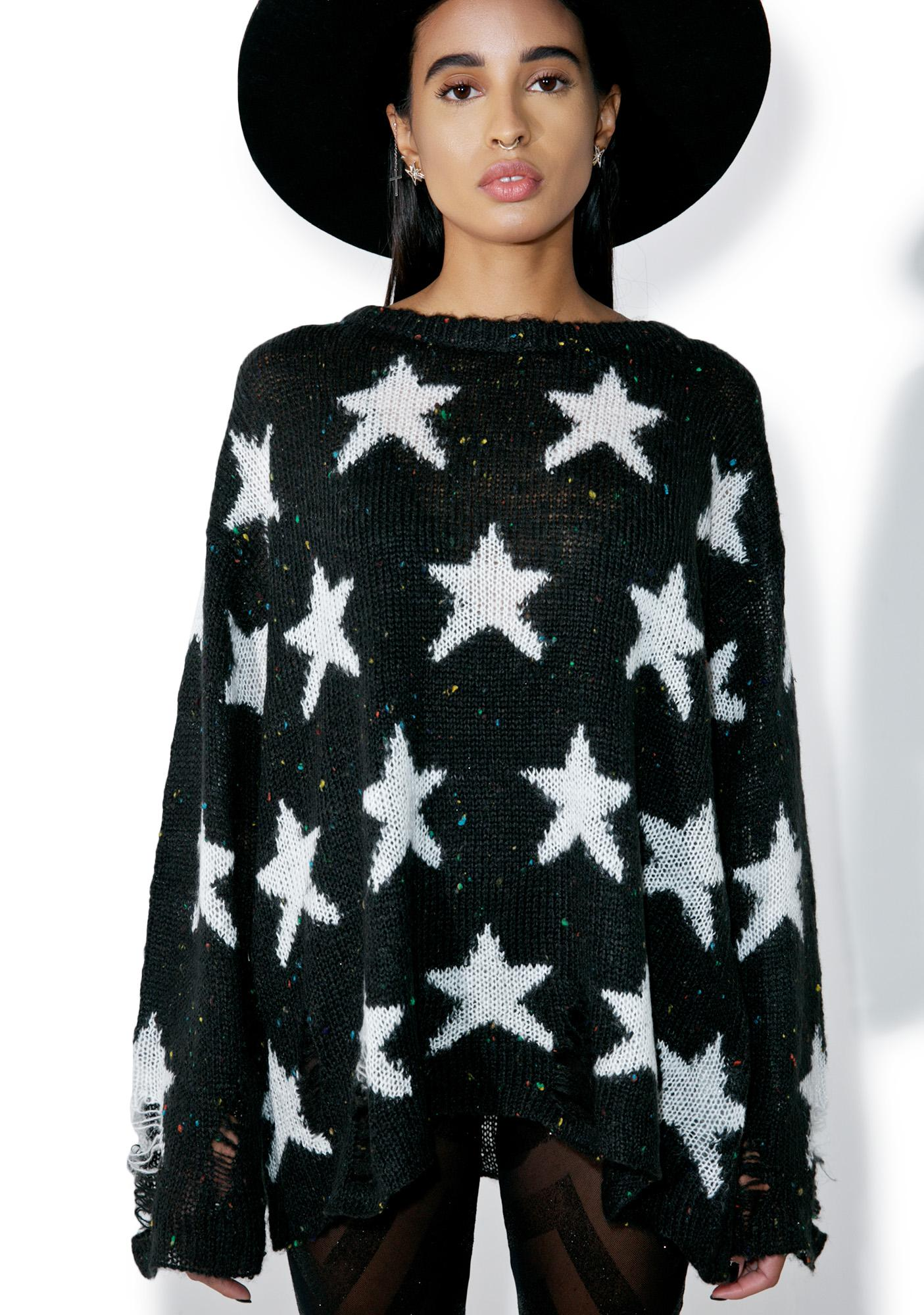Wildfox Couture Noir Seeing Stars Lenon Sweater