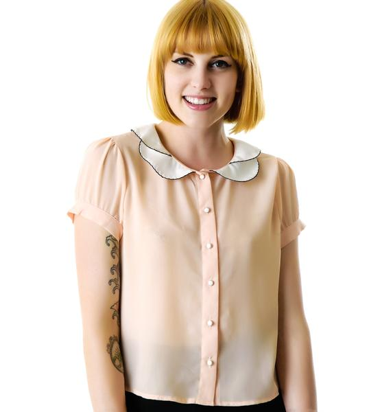Peachy Keen Double Collar Blouse