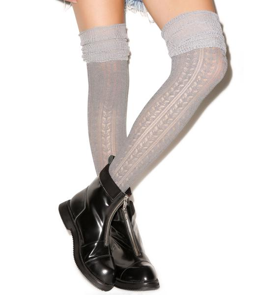 Pretty Pointelle Over The Knee Sock