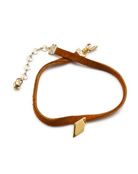 The Golden Diamond Leather Choker