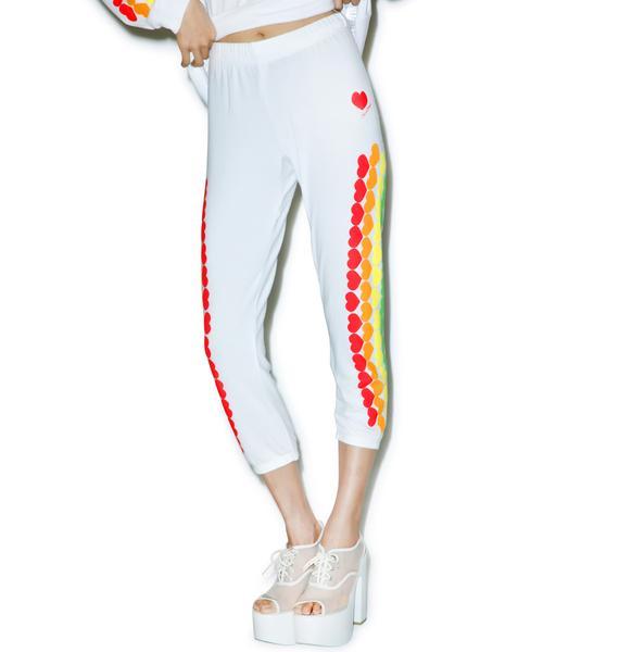 Lauren Moshi Lovie Rainbow Heart Cropped Sweatpants