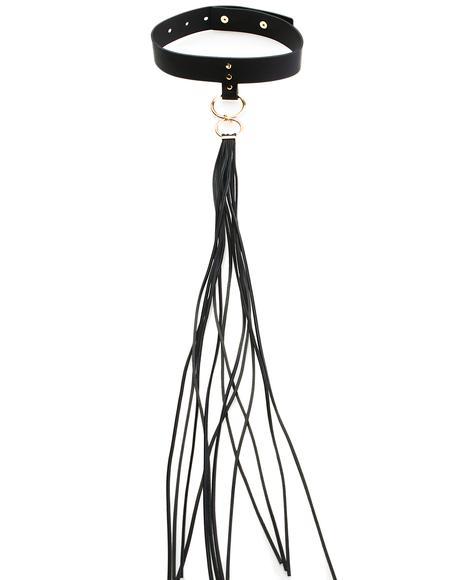 Long Fringe Leather Choker