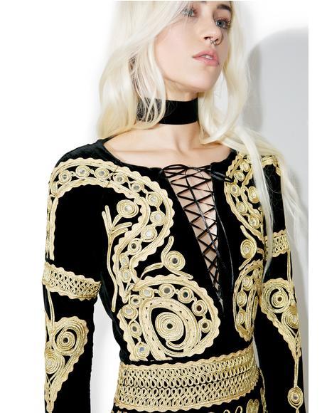 Ornate Velvet Mini Dress