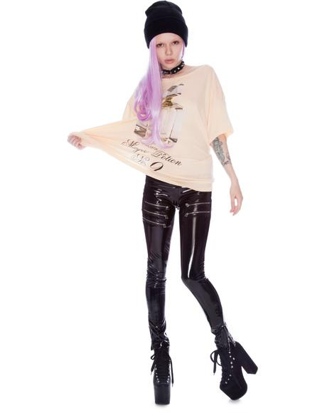 Cybil Metal Zipper Vinyl Leggings