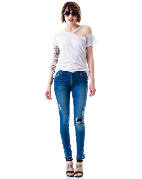 Distressed Low Rise Ankle Skinny Jean