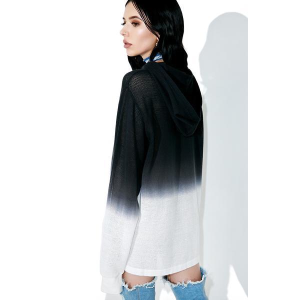 Black Scale Mesh Pullover Hoody