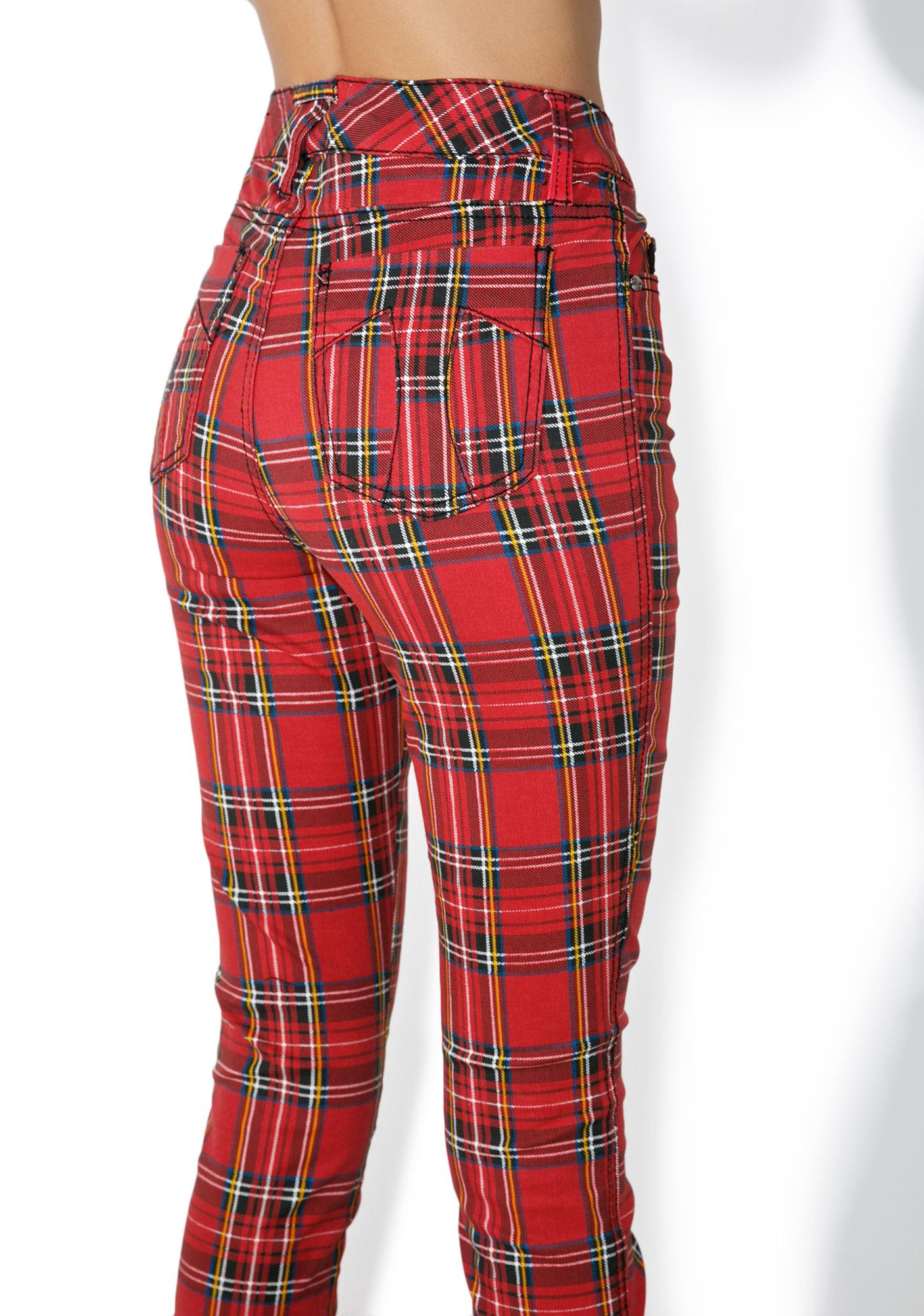 Tripp NYC High Waisted Plaid Pants | Dolls Kill