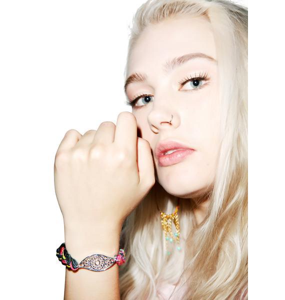 Ettika Toucan Vintage Ribbon Evil Eye Bracelet