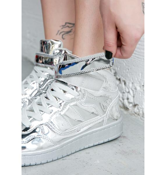 Silver Lining Metallic High Top Sneakers