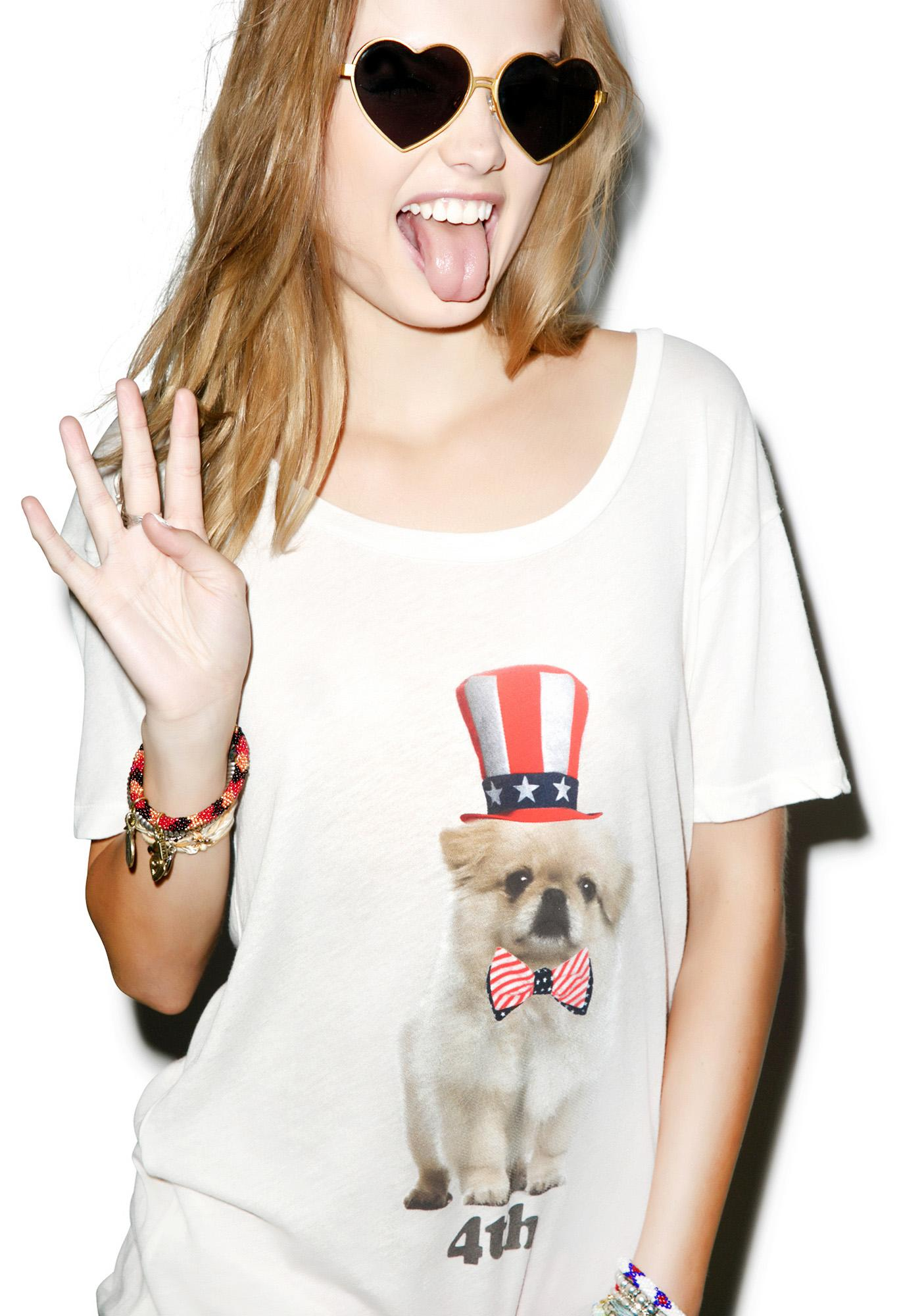 Wildfox Couture Party Pup Crewneck Tee