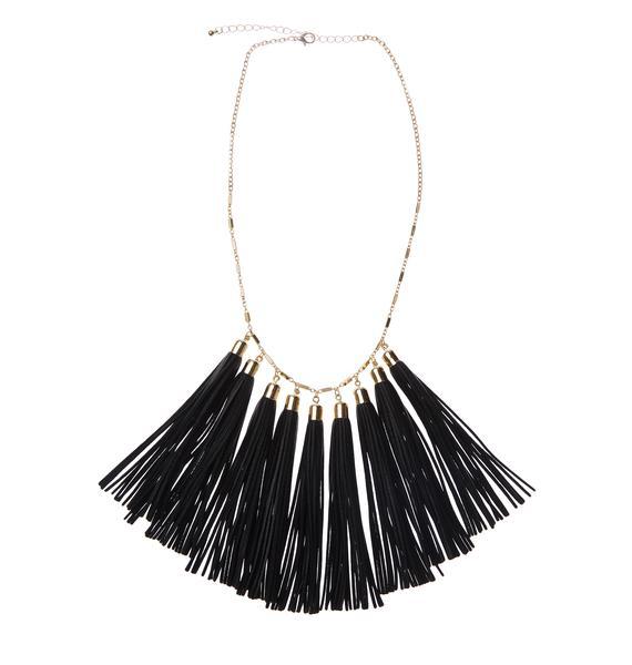 Black Magnolia Tassel Necklace