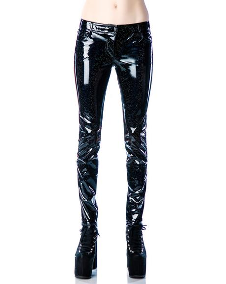 Glitter PVC Skinny Jeans