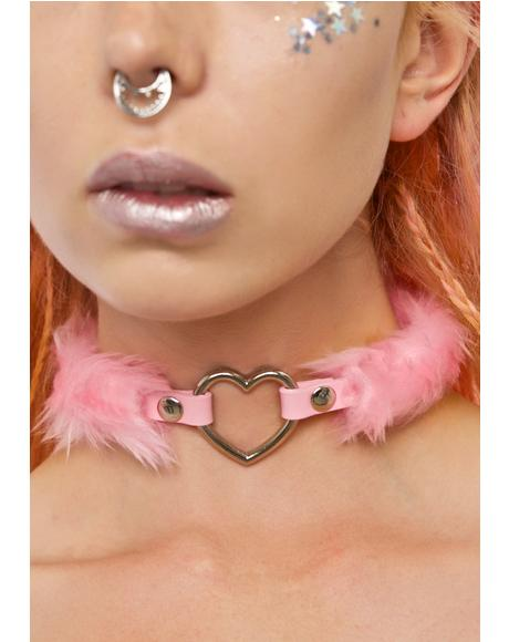 Coco's Heart Faux Fur Choker