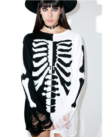 Skeletor Split-Knit Sweater