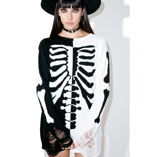Killstar Skeletor Split-Knit Sweater