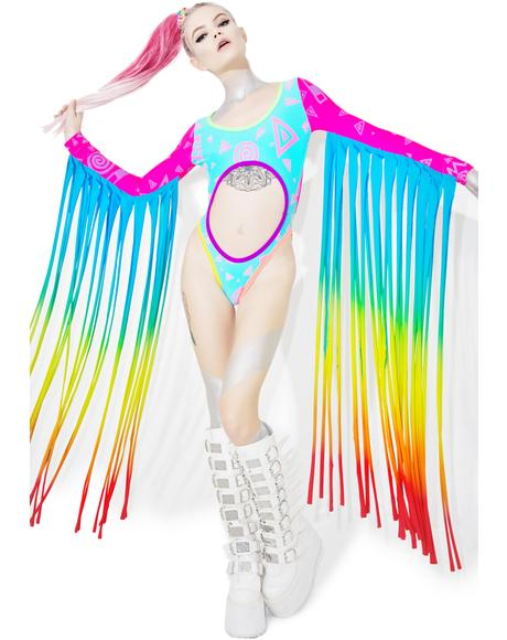 Rainbow Fringed Rave Suit