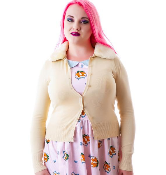 Miss Kitty Fur Collar Cardigan