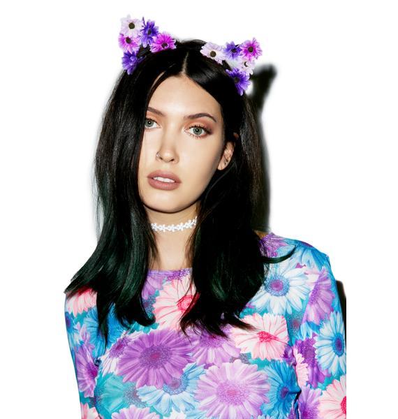 Mi Gente Clothing Purple Floral Kitty Ears