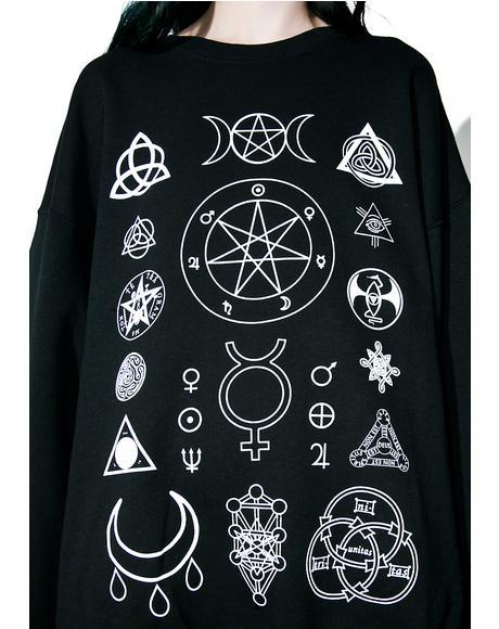Witch Symbols Oversize Sweatshirt