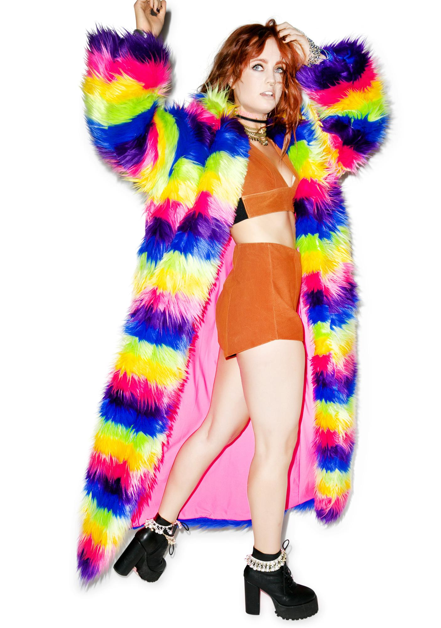 J Valentine Taste The Rainbow Full Length Rainbow Coat