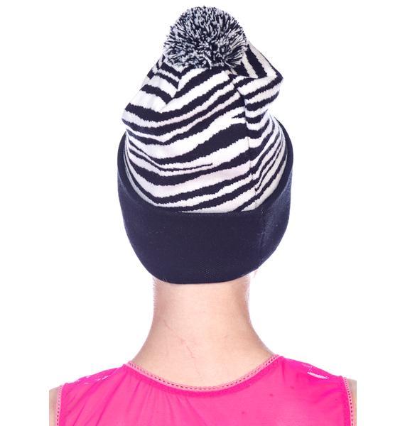 Joyrich Zebra Pomp Beanie